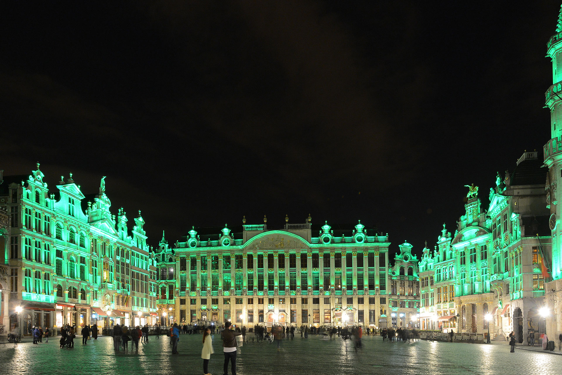 Grand Place in Brussels can be lit up in different colours to celebrate different events, like green on Saint Patricks Day