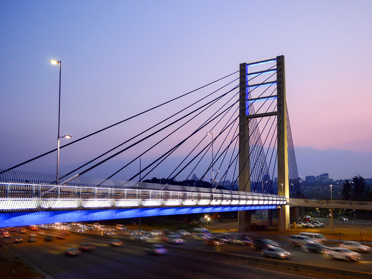 Rea Vaya Bridge not only cut travel time for residents but created an iconic landmark by night
