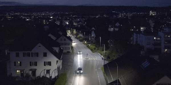 Smart lighting system adapts the lighting levels according to traffic density in Urdorf, reducing energy consumption and protecting the local wildlife